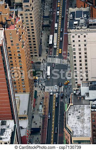 New York City Manhattan street aerial view  - csp7130739
