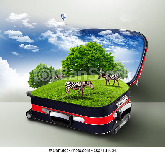 Red suitcase with green nature inside - csp7131084