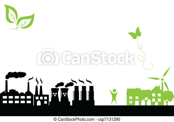 Green town and industrial building - csp7131290