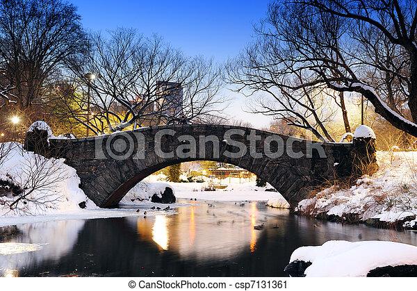 New York City Central Park bridge in winter - csp7131361