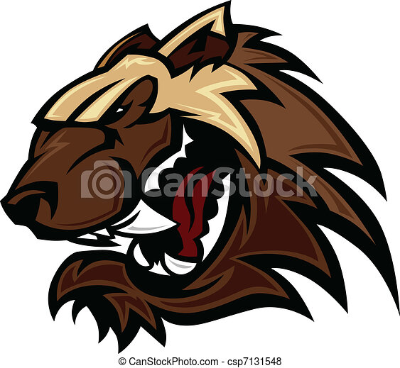Wolverine Badger Mascot Head Vector - csp7131548