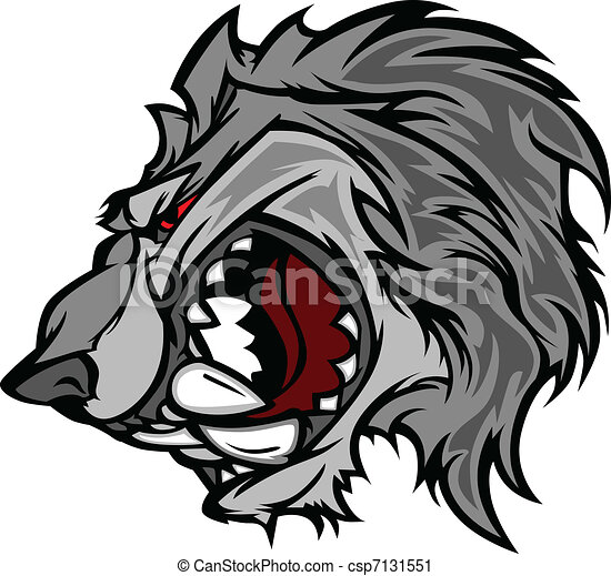 Wolf Mascot Vector Cartoon with Sna - csp7131551