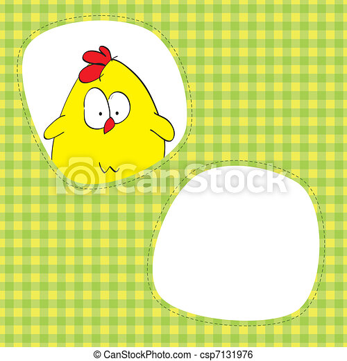 Card with cute chicken - csp7131976