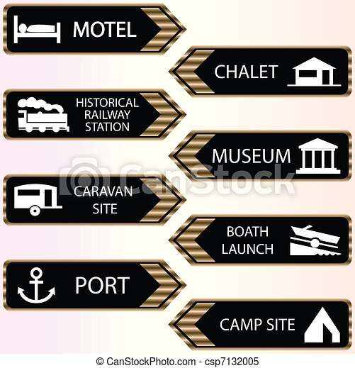 tourist locations icon set - csp7132005