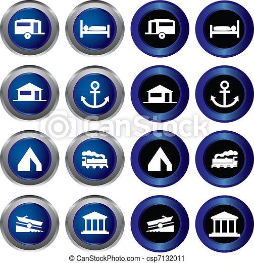 tourist locations icon set - csp7132011