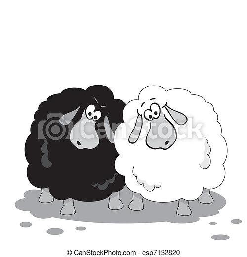Clipart vecteur de dessin anim mouton noir et blanc - Mouton dessin anime ...