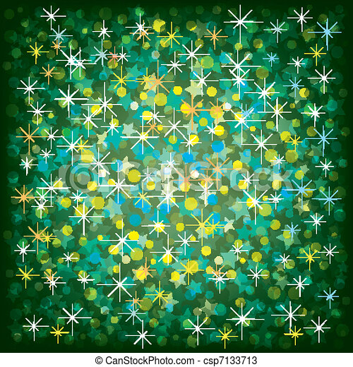 Christmas green background with stars and confetti - csp7133713