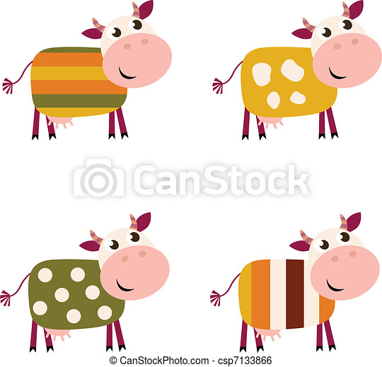 Cute color pattern Cows collection isolated on white background  - csp7133866