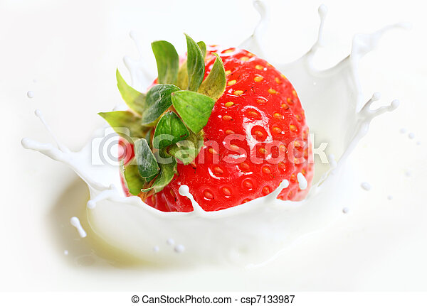 Strawberry falling into milk - csp7133987