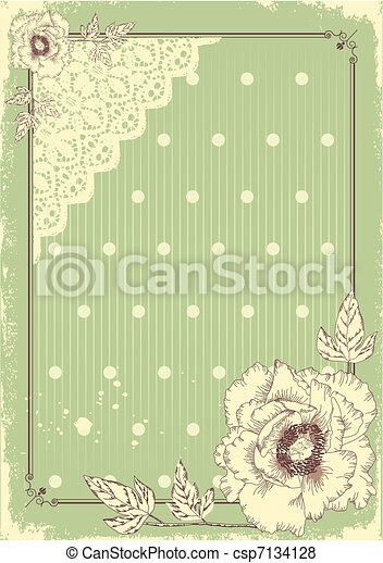 Floral postcard .Vector vintage background in pastel colors for text  - csp7134128