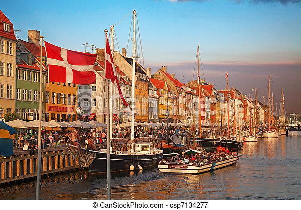 Copenhagen (Nyhavn district) in a sunny summer day - csp7134277