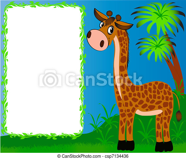 frame nursery nice giraffe on background of the palms - csp7134436