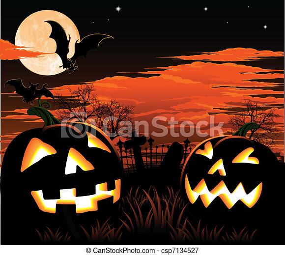Halloween graveyard background - csp7134527