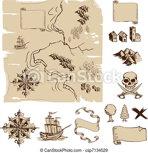 Make your own fantasy or treasure maps - csp7134529