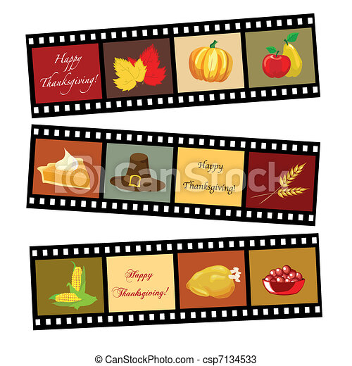 Happy Thanksgiving film strip - csp7134533
