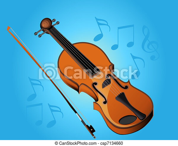 violin bow and music on turn blue background - csp7134660