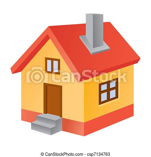 3d home icon - csp7134763