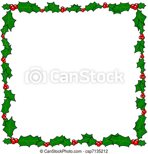 Christmas holly border frame - csp7135212