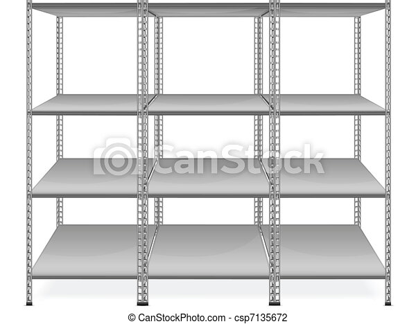 Empty bookshelves  - csp7135672