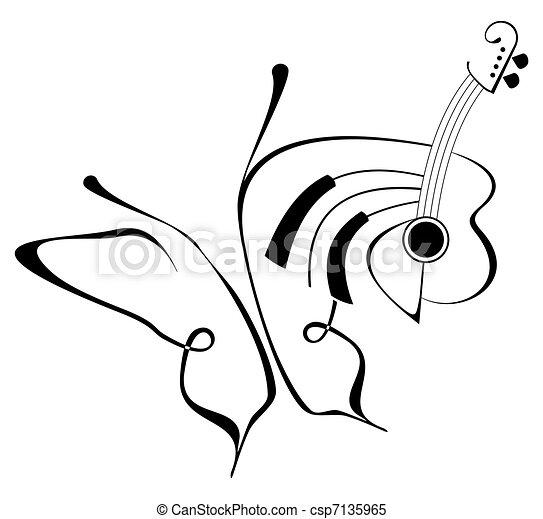 Butterfly music tattoo - csp7135965