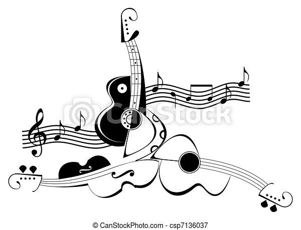 Guitar and violin - tattoo - csp7136037