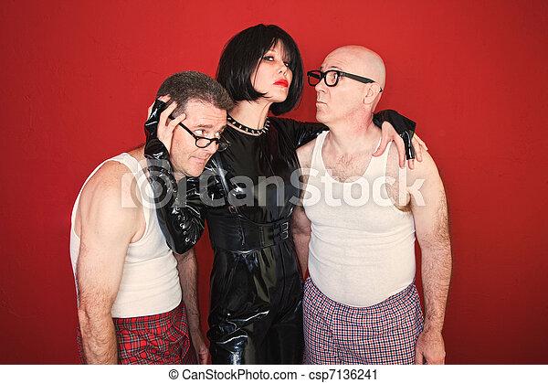 Dominatrix with Two Men - csp7136241