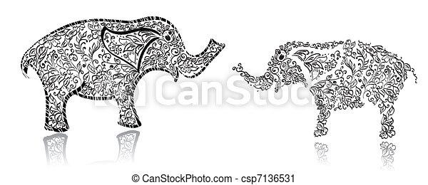 Stylish design elephant - csp7136531