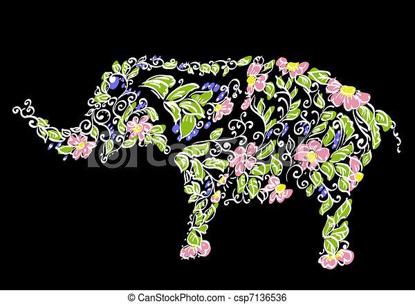 Floral designer elephant - csp7136536