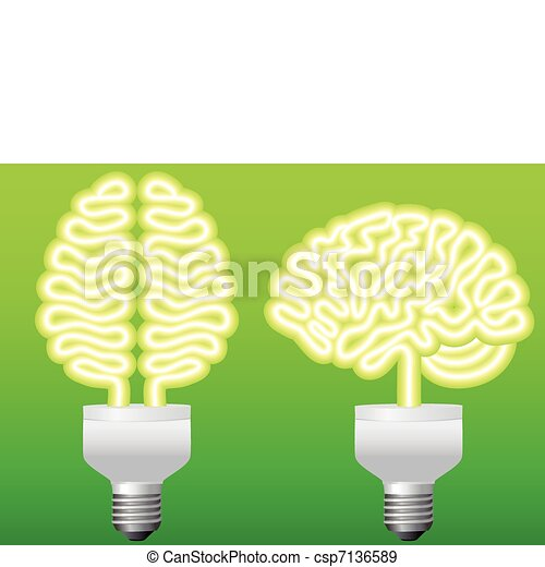 energy bulb brain, vector - csp7136589