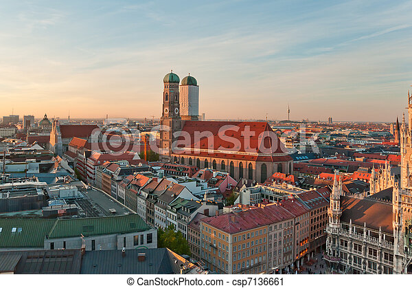 View at the famous Frauenkirche church in Munich, Germany - csp7136661