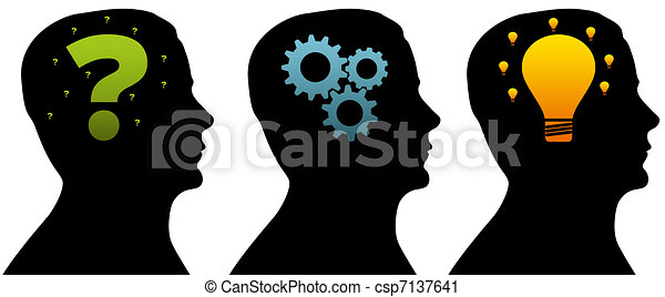 Silhouette head - Thinking Process - csp7137641