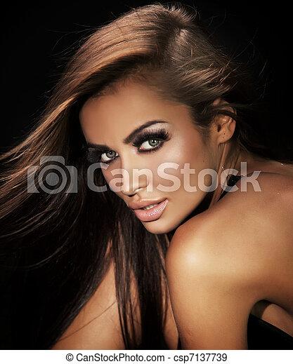 美しい, 肖像画, 女 - csp7137739