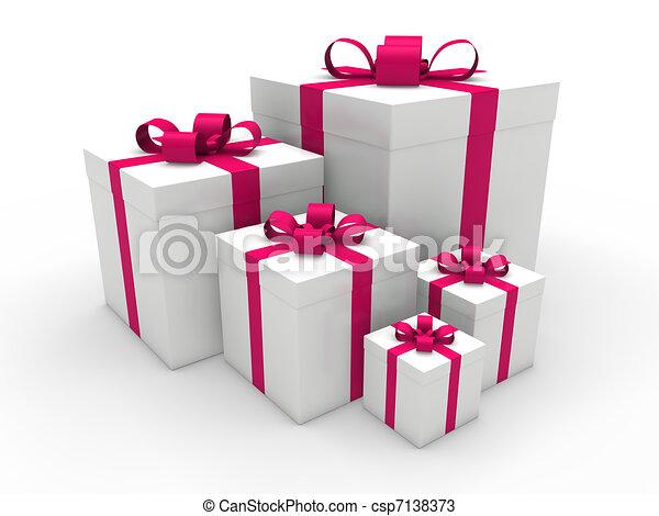 3d pink gift box christmas - csp7138373