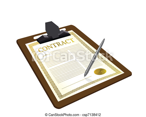 Contract with pen illustration - csp7138412