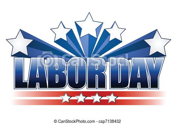 Illustrated labor day text design - csp7138432