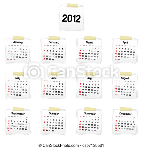 2012 calendar - csp7138581