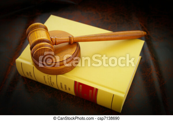 a judges legal gavel and law book - csp7138690