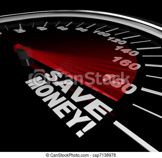 Save Money - Discount Sale Words on Speedometer - csp7138978