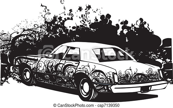 Ghetto car illustration - csp7139350