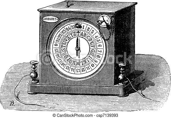 Receiver's dial telegraph, vintage engraving. - csp7139393