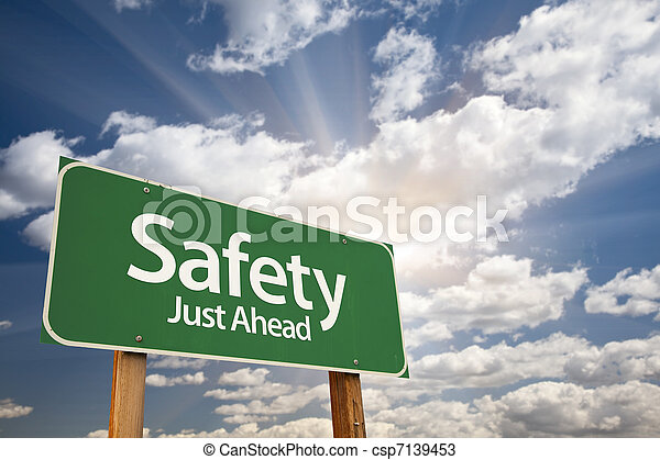 Safety, Just Ahead Green Road Sign - csp7139453
