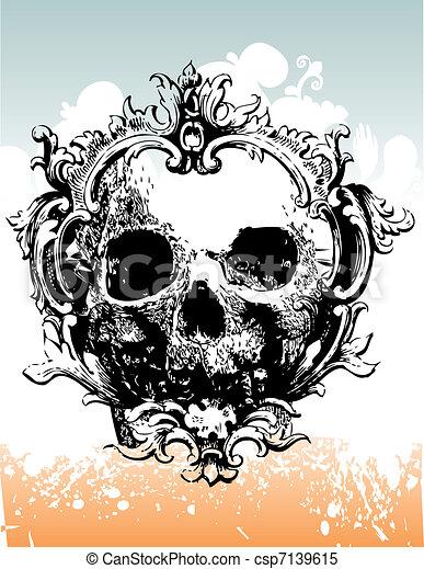 Decaying skull illustration - csp7139615