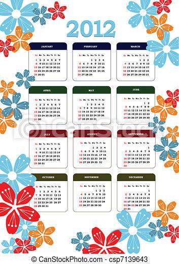 Vecteurs de 2012 calendrier fleur image v 2012 - Calendrier des fleurs coupees ...