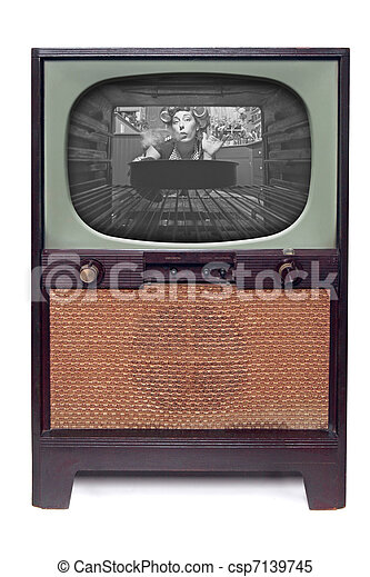 Vintage 1950 TV Television  Isolated on White - csp7139745