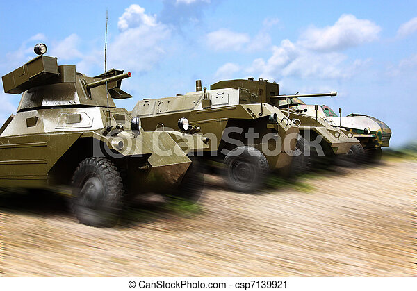 Military cars at work - csp7139921