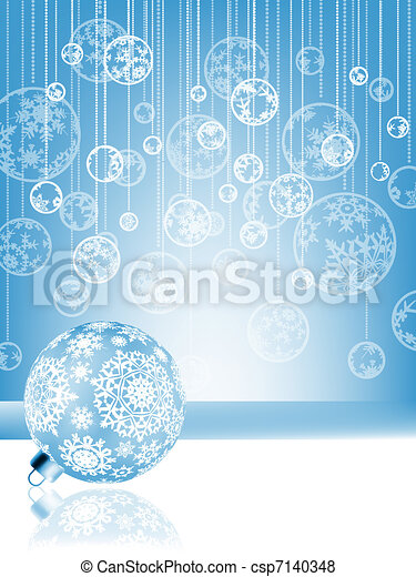 Blue christmas card with baubles . EPS 8 - csp7140348