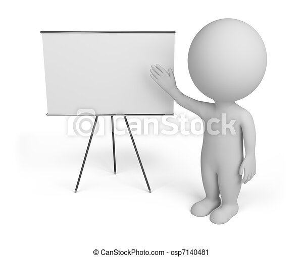 3d small people with empty board - csp7140481
