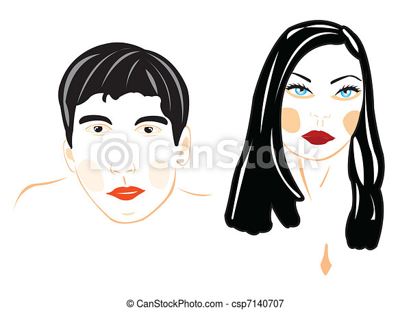 Illustration male and feminine person - csp7140707
