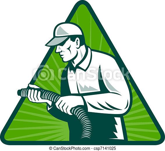 tradesman home insulation technician with hose - csp7141025