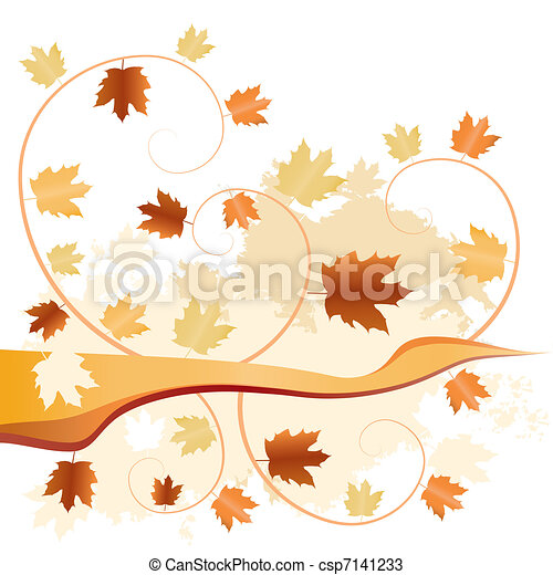 abstract autumn fallen leaves  - csp7141233